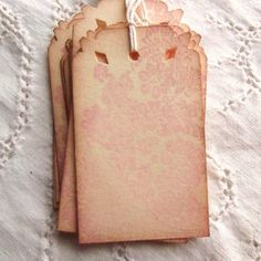 Pink Floral Damask Tags - Shabby and Vintage Edges
