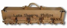 Glenn Nief. My talented and amazing brother. Oak Toy Train with child's name and drive thru box