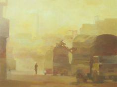Ussama Bin Naveed-Shah Almi Road-Oil on Canvas-18 x 24 Inches-2014-