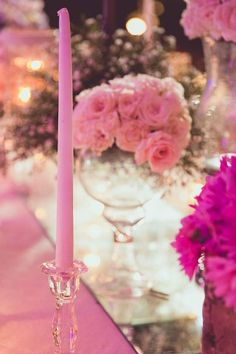 Pink candles and floral arrangements as table decor. Wedding Gallery, Wedding Photos, Wedding Ideas, Pink Candles, Wedding Decorations, Table Decorations, Floral Arrangements, Wedding Planner, Marriage Pictures