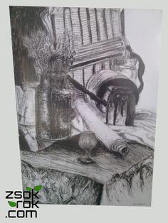 Obraz na papierze, formatu B1 (100 x 70 cm), wykonany techniką węgla, zabezpieczony fixatywą. Obraz umieszczony w antyramie.  Skontaktuj się, aby kupić: 665 166 497