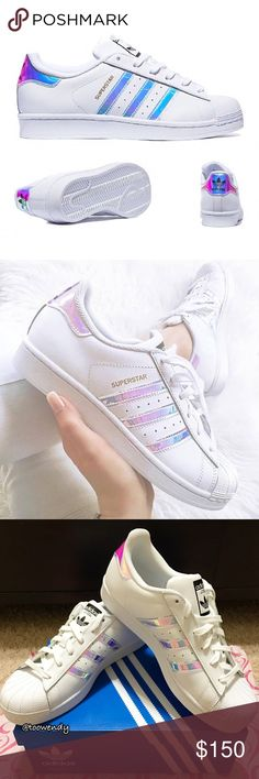 Adidas Originals Superstar Iridescent Shoes ✨RARE , LIMITED EDITION✨  Available Size: -6 Kids = 8 Woman -6 1/2 Kids = 8 1/2 Woman  ✨Color: Holographic / Iridescent / White / Metallic Silver / Rainbow Crystal  -Smooth leather and/or textile upper with synthetic 3-Stripes and the iconic shell toe. -Rubber outsole supplies durability and traction. -Ortholite -% Guarantee Authentic  ✨NOTE: Cheaper at Ⓜ️ercari!!! ‼️WILL RETURN BY OCTOBER 18, 2016 IF DON'T SELL‼️  Brand NEW , in original shoe box…