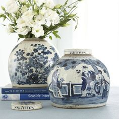 Blue and white pottery has the unique ability to transcend time. Find inspiration from the blue and white pottery collection from Wisteria. Blue And White China, Blue China, Love Blue, Delft, Keramik Vase, Ginger Jars, Jar Lids, White Decor, Wisteria
