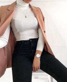 Roll Neck Ribbed Knit Jumper Top Cream cream top ribbed knit long sleeve - Vintage Kleidung - The Fashion Winter Fashion Outfits, Look Fashion, Fall Outfits, Autumn Fashion, Summer Outfits, Classy Fashion, Feminine Fashion, Womens Fashion, Fashion Clothes