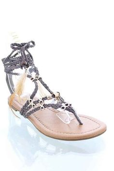 These are super cute gladiator flat lace up sandals with braided ties and feather and bead accents, gray in color to go with most outfits this spring and summer into the fall. Gladiator Flats, Chunky Chain Necklaces, Sandals For Sale, Lace Up Sandals, Beige, Gray, Playing Dress Up, Necklace Set, Oxford Shoes