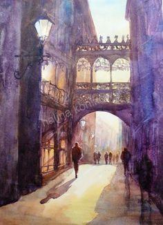 Watercolor Barcelona Spain by artbyhalina