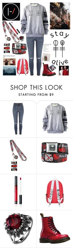 """My Name's Blurryface And I Care What You Think"" by headphones-girl ❤ liked on Polyvore featuring River Island, Kat Von D and Dr. Martens"