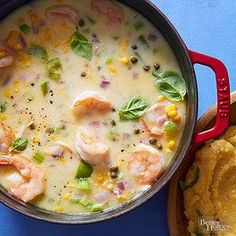 Big Basil Shrimp Chowder This fresh take on classic chowder gets big flavor from fresh basil and sweet corn. A swirl of mascarpone cheese adds richness.