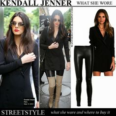 Kendall Jenner in Paris on May 21 2014  WHAT SHE WORE: she wore black leather leggings by The Row, beige over the knee boots by Celine and black jacket dress by Lovers + Friends  BUY: THE ROW MOTO STRETCH LEATHER SKINNY PANTS at Net-a-Porter at Farfetch at Harrods  LOVERS + FRIENDS KEATON DRESS