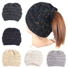 3ba45351ccb Women s Stretch Knit Hat Messy Bun Ponytail Beanie Holey Girl Warm Hats  Winter W  fashion