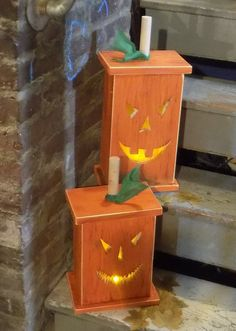 lightbox pumpkin rustic halloween decor reclaimed wood hand painted pumpkins primitive halloween - Wooden Halloween Decorations