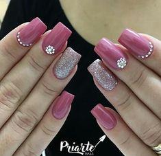 Unhas Cute Nail Art, Cute Acrylic Nails, Cute Nails, Pretty Nails, Soft Nails, Pink Nails, Gel Nails, Pink Nail Designs, Beautiful Nail Designs