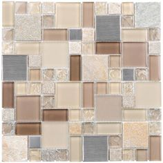 Three Elements Glass Mosaic Tile combines natural stone, stainless steel, and glass tiles in different finishes and tones of sand, peach and silver in a french pattern mounted on a 12x12 sheet, which allows for an easy installation. The individual tile sizes vary from 1x1 to 2x2 and are 8mm tick. This can be used as accent tiles on Bathrooms Walls, Kitchen Backsplash, Feature Wall, and Fireplace Surrounds. This tile sold by the sheet.