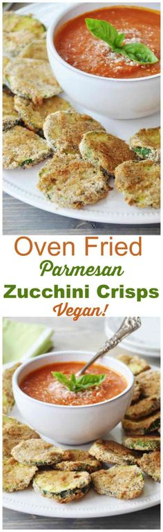 Oven Fried Parmesan Zucchini Crisps! They're crispy, crunchy, and delicious. They're also vegan! The perfect appetizer recipe. www.veganosity.com