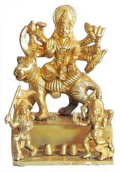 Vaishno Devi with Hanuman and Bhairav (Brass) Mother Kali, Mother Goddess, Vaishno Devi, Mata Rani, Hanuman Images, Radha Krishna Love, Durga, Vintage Art, Lion Sculpture
