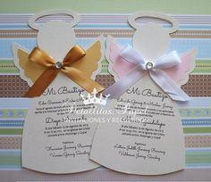 Angel Baptism Invitation Handmade / Angel Invitation christening Baby Shower