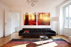 living room Wall Art, 2 Piece Wall Art, forest multi panel art, scenery wall art, autumn huge pictures