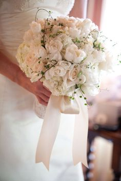Mindy Rice Florals Stephanie Hogue Photography - white bridal bouquet with hydrangeas, roses, fringe tulips, delicate vines
