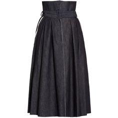 Bottega Veneta Pleated Denim Skirt ($452) ❤ liked on Polyvore