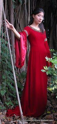 Deep Red Elven Gown