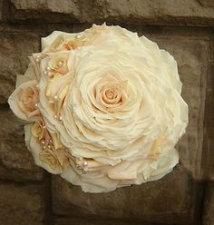 White and Gold Wedding Bouquet. Composite Petal or Glamelia Bouquet. a rose within roses