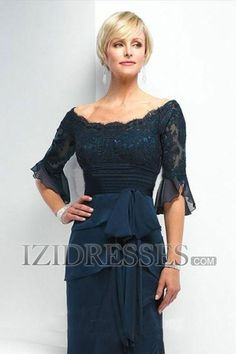 A-Line Princess Scoop Chiffon Mother Of The Bride Dress - IZIDRESSES.COM