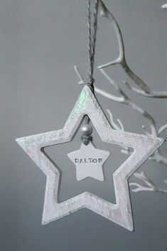 Personalised Christmas Decorations, Christmas Star Decorations, Christmas Ornaments, Holiday Decor, Rustic Wood, Birthday Candles, Iridescent, Clay, Unique Jewelry