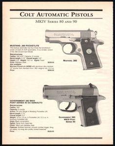 1999 COLT MKIV Series 80 & 90 Government 380 Pony & Mustang Pocketlite Pistol AD #Colt