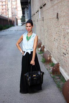 sleeveless chambray, maxi skirt.