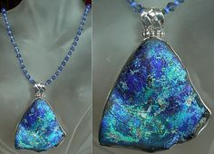 Royal Blue Brown Turquoise Silver Roman Glass Sterling by camexinc, $85.00