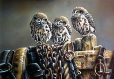 Three little owls on a fence [official title unknown] -- by artist Jan Weenink (b.1946, Dutch)