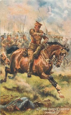 British; 16th(The Queen's) Lancers, Charge!!! c.1914 by H.Payne
