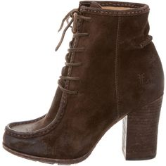 Pre-owned Frye Suede Lace-Up Ankle Boots ($125) ❤ liked on Polyvore featuring shoes, boots, ankle booties, brown, short brown boots, brown boots, lace up ankle boots, suede boots and lace up bootie