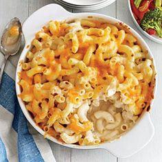 Two-Cheese Mac and Cheese pasta bake recipe via cookinglight.com.