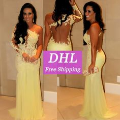 Real Sample Charming Yellow Back See Through Lace Mermaid Evening Dresses With One Long Sleeve Prom Dresses Chiffon VC126