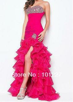 Free Shipping Beaded Front Short Long Back Hot Pink Organza Tiered High Low Sheath Dresses Prom Sweetheart  Corset Back CL0000 $175.00