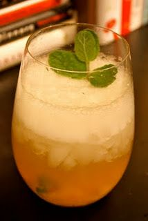"""""""Southern Culture on the Skids"""" a peach, bourbon & mint cocktail I made"""