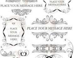Swirls Clipart Digital Vintage Border Frame Baroque Decorative Flourish Ornaments Old World DIY Wedding Invitation Scrapbook Supplies 10138