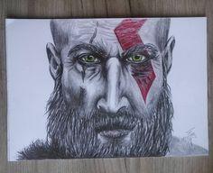 namalovaný #kratos z #godofwar #art #draw #pencil #artist #painting #drawing #game