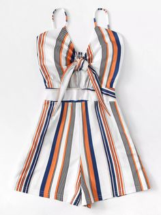 Shop Knot Front Striped Cami Romper at ROMWE, discover more fashion styles online. Cute Comfy Outfits, Stylish Outfits, Cool Outfits, New Outfits, Summer Outfits, Fashion Outfits, Outfit Chic, Look Girl, Teenage Girl Outfits