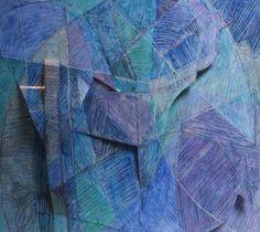 "Tom Holland, Blue Still Life #1, 1985, Epoxy paint on aluminum, 64"" x 71 1/2"""