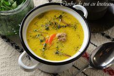 ciorba de pui cu tarhon Lidl, Cheeseburger Chowder, Thai Red Curry, Ethnic Recipes, Food, Soups, Cooking, Essen, Soup