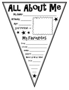 All About Me Pennant--first week of school then attach them all and hang up in classroom or hallway. Love the idea but would change the layout to make it more of a writing project 1st Day Of School, Beginning Of The School Year, School Fun, School Ideas, School Stuff, Back To School Activities, Classroom Activities, Classroom Ideas, Classroom Bunting