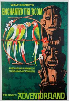 """Amazon.com: DISNEYLAND RESORT'S """"Enchanted Tiki Room"""" Classic Attractions Poster - Disney Parks Exclusive & Limited Availability: Everything..."""