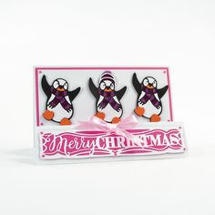 My Tonic Studios - Rococo Happy Penguin Die Set Fall Cards, Xmas Cards, Tonic Christmas Cards, Happy Penguin, Tonic Cards, Memory Crafts, Studio Cards, Marianne Design, All Things Christmas