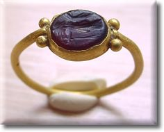 Ancient Roman Pure Gold Ring with Carnelian Stone from 100 B.C. -150 A.D. ...