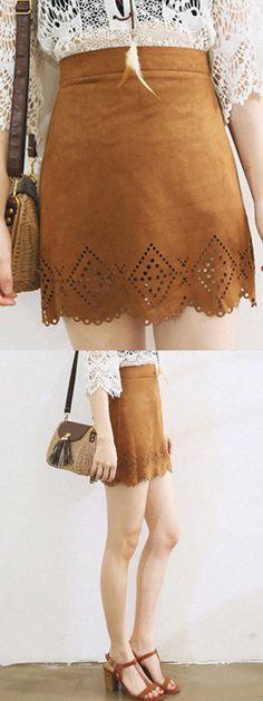 Brown Suedette Crochet Scallop Hem Mini Skirt-CHOIES