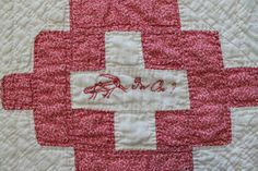 """Vintage Handmade Friendship Quilt 36 Embroidered Names ON Patches 78""""X75"""" 