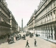 Rue de la Paix and its famous obelisk, hand-coloured lantern photo, early 1900s
