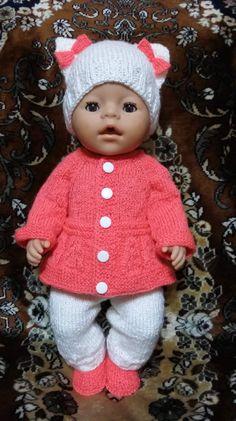 OK Baby Born Clothes, Girl Doll Clothes, Girl Dolls, Baby Dolls, Knitted Doll Patterns, Knitted Dolls, Doll Clothes Patterns, Crochet Baby Sweaters, Baby Knitting